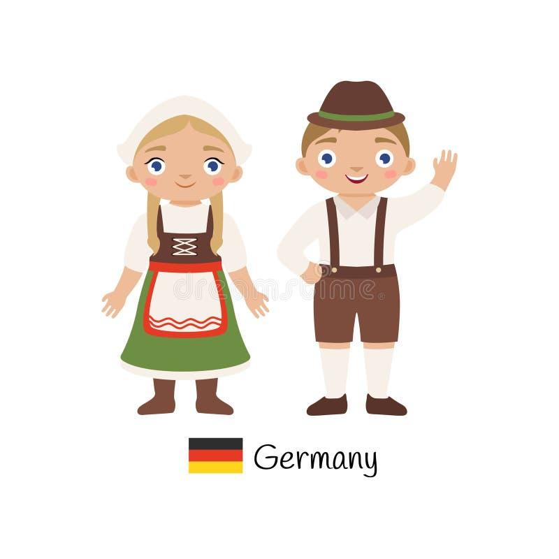 Chłopiec i dziewczyna w tradycyjnych Niemieckich kostiumach ilustracji