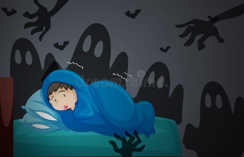Chłopiec ma koszmar royalty ilustracja