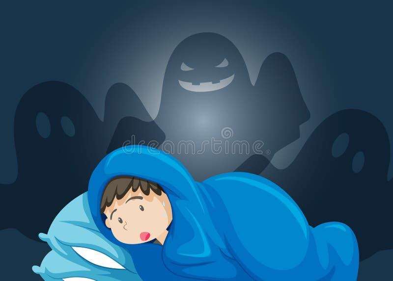 Chłopiec strach duch ilustracji
