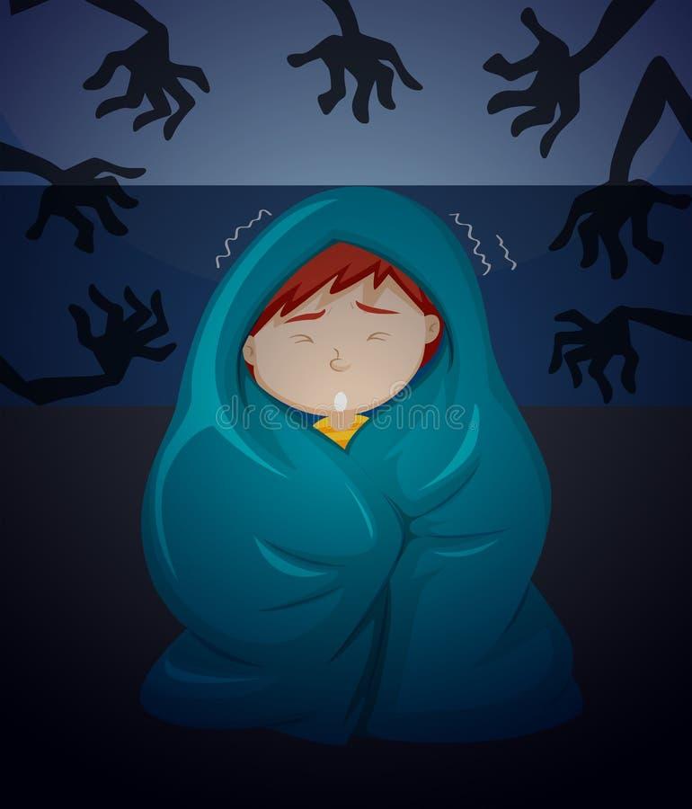 Chłopiec strach duch ilustracja wektor