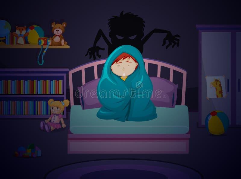Chłopiec strach zmrok ilustracji