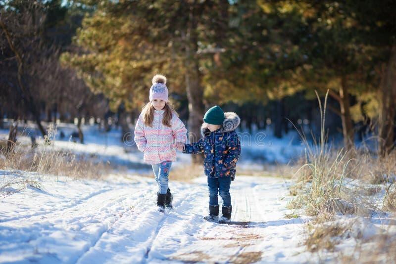 Chłopiec z dziewczyną, brat z siostrzanym spacerem na drodze przez śniegu w zima lesie zdjęcie royalty free