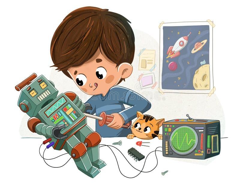 Chłopiec z robotem i jego zwierzę domowe royalty ilustracja