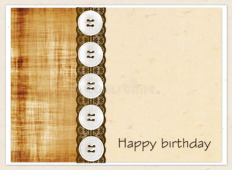 Chèque-cadeau avec des places de couleur, des boutons et dentelle brune et anniversaire d'inscription joyeux ! illustration libre de droits