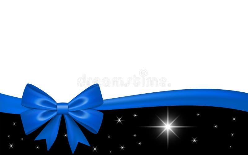 Chèque-cadeau avec l'arc de ruban bleu, d'isolement sur le fond blanc La d?coration tient le premier r?le la conception pour la c illustration de vecteur