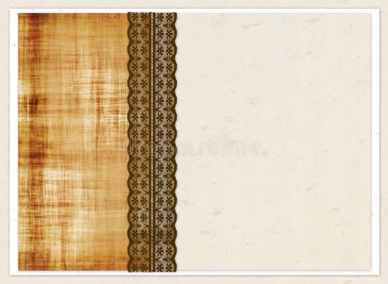 Chèque-cadeau avec les places de couleur et la dentelle brune illustration libre de droits