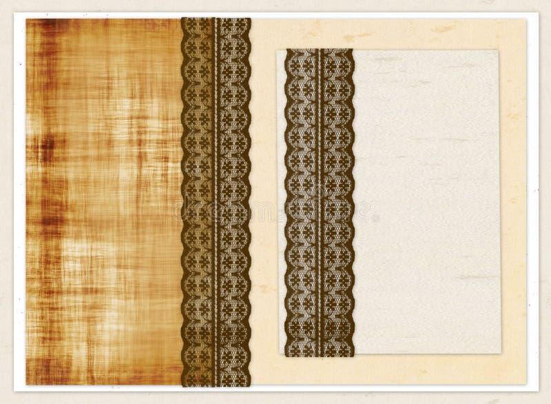 Chèque-cadeau avec les places de couleur et la dentelle brune illustration stock