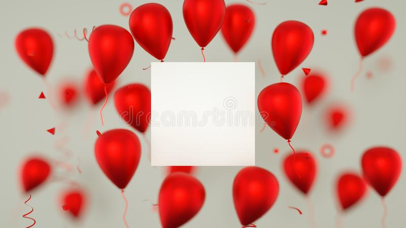 Chèque-cadeau, carte d'anniversaire avec des ballons Un signe de bannière de ballons avec des ballons de partie rendu 3d images stock