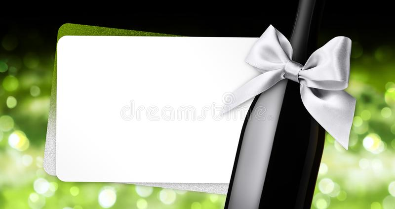 Chèque-cadeau de salutation de Joyeux Noël avec l'arc argenté de ruban de bouteille de vin sur le fond brouillé vert de lumières illustration libre de droits