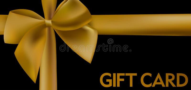 Chèque-cadeau noir avec le ruban coloré par or illustration de vecteur