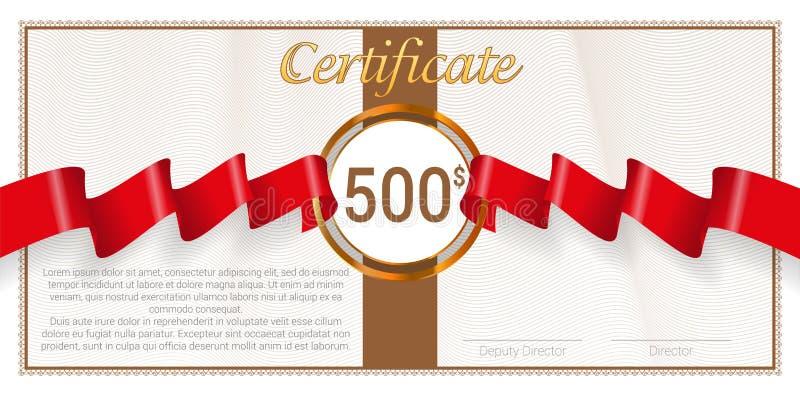 Chèque-cadeaux avec le ruban rouge de récompense Descripteur de vecteur illustration de vecteur