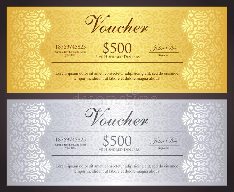 Chèque-cadeaux d'or et argenté de luxe dans le vinta illustration libre de droits