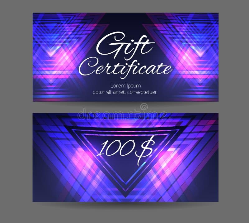 Chèque-cadeaux de calibre pour le studio de yoga, centre de station thermale illustration stock