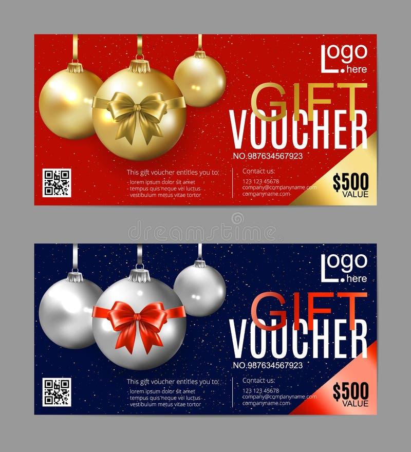 Chèque-cadeaux de la Navidad Vale de regalo del Año Nuevo Bolas de oro de la Navidad en un fondo rojo y azul libre illustration