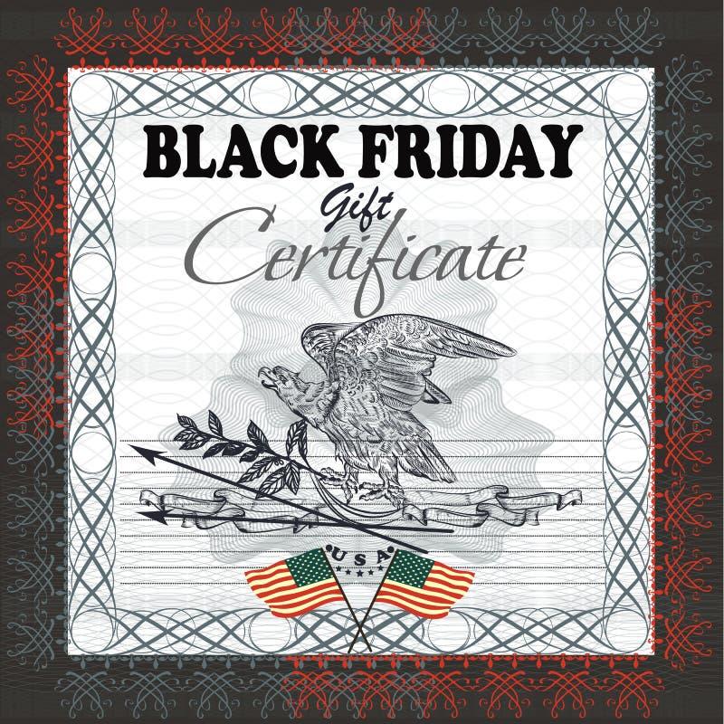 Chèque-cadeaux negro de viernes con la bandera, águila de los E.E.U.U. libre illustration