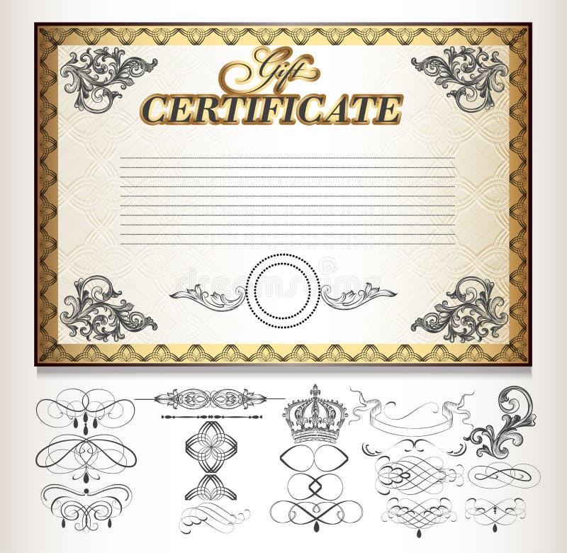 Chèque-cadeaux réglé avec les éléments calligraphiques décoratifs illustration libre de droits