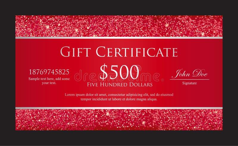 Chèque-cadeaux rouge de luxe avec des frontières composées illustration stock