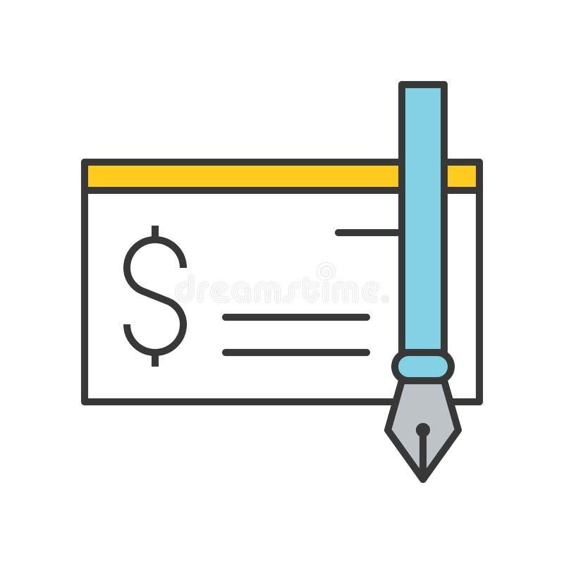 Chèque de banque et icône de stylo d'encre, banque et icône relative financière, fi illustration libre de droits