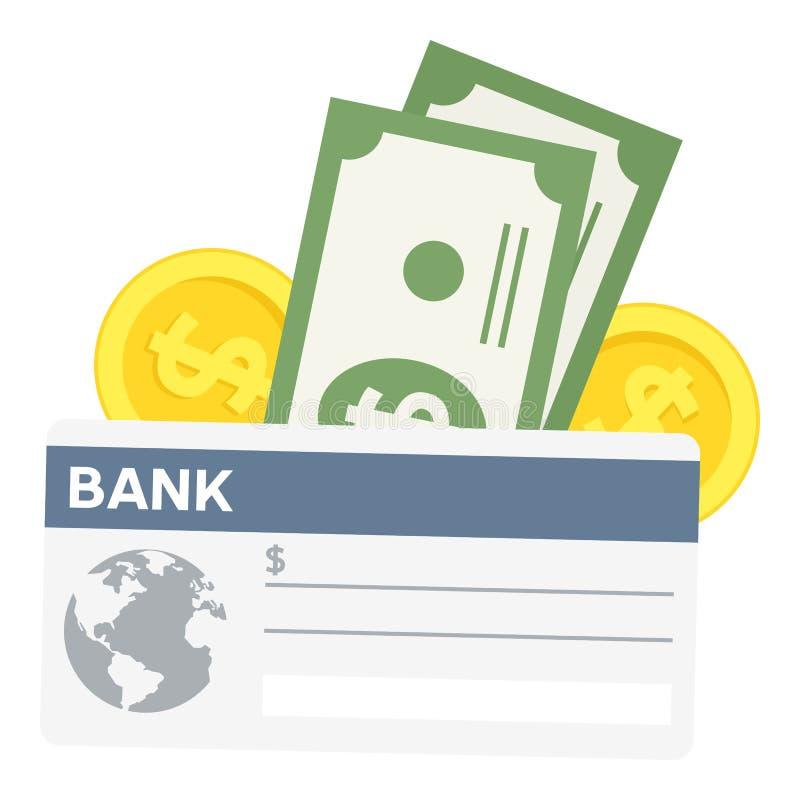 Chèque de banque et icône plate de billets de banque sur le blanc illustration stock