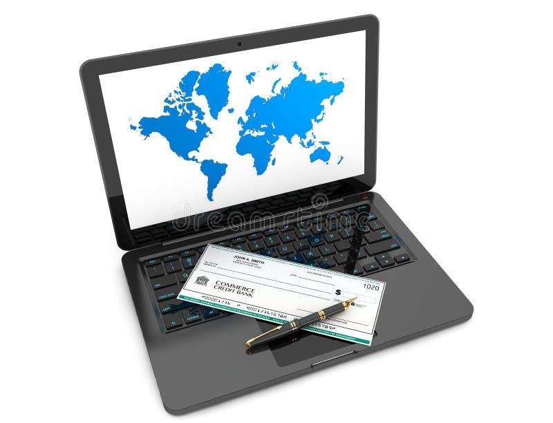 Chèque de banque et stylo-plume vides au-dessus de clavier d'ordinateur portable photo libre de droits