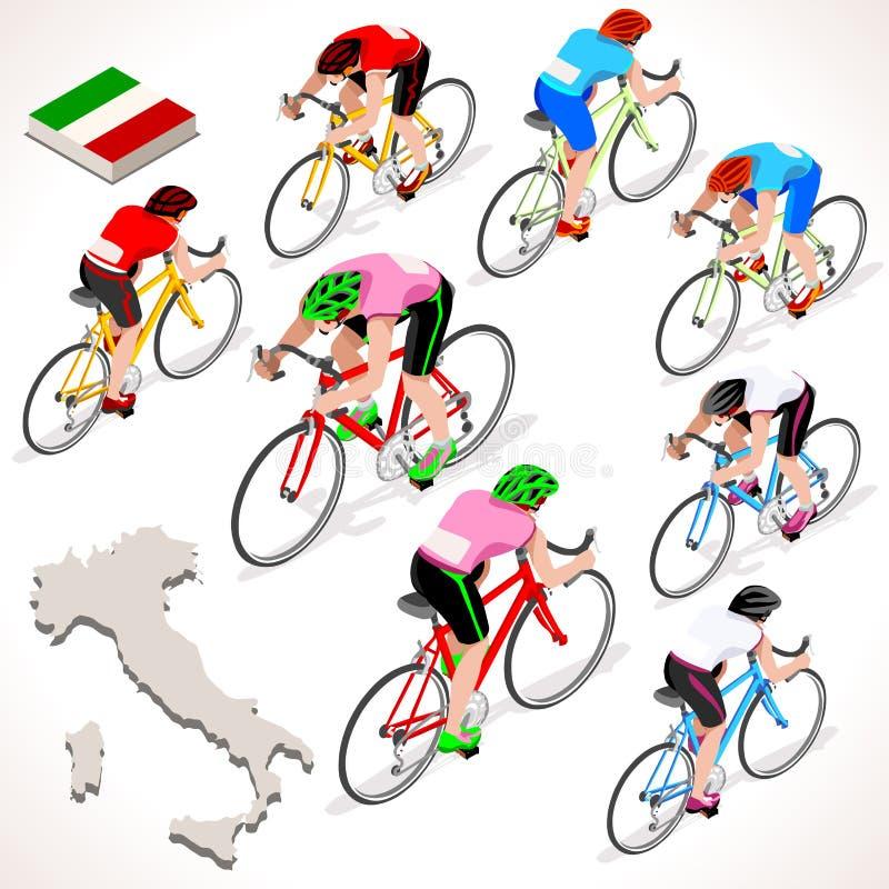 Chèques postaux Italie emballant le chemin de bicyclette d'équitation de groupe de cycliste Icône de cycliste de vecteur illustration de vecteur