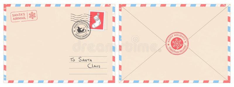 Chère enveloppe de courrier du père noël Lettre de surprise de Noël, carte postale d'enfant avec le vecteur de cachet de cachet d illustration libre de droits