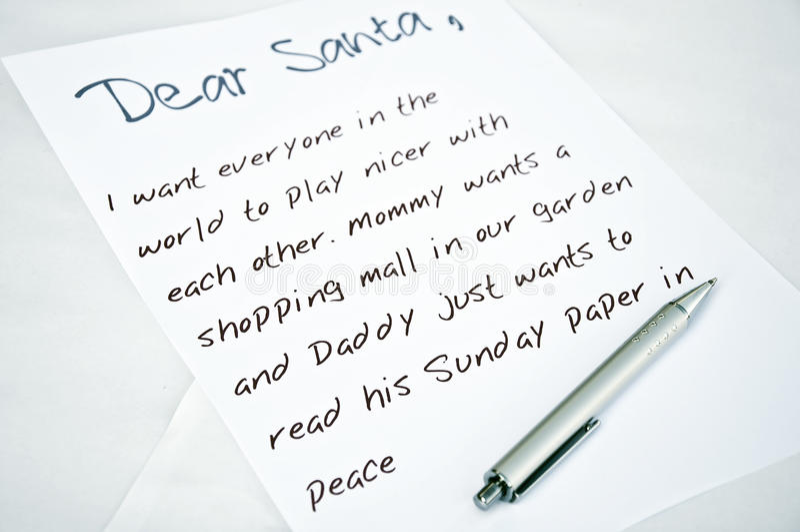 Chère lettre de Santa photographie stock