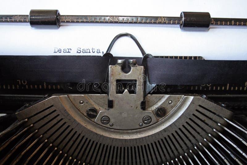 Chère lettre de Santa tapée à la machine photo libre de droits