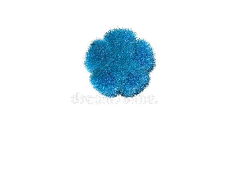Chère police floconneuse bleue d'isolement sur blanc - astérisque, illustration du concept 3D d'enfance des symboles illustration stock