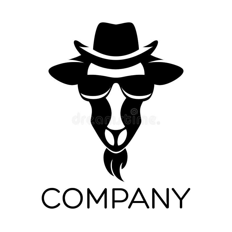 Chèvre dans le rétro logo de chapeau illustration libre de droits