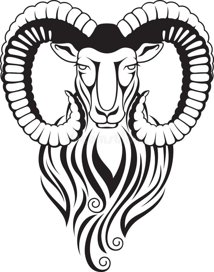 Chèvre de montagne - mouflon avec de grands klaxons incurvés illustration de vecteur