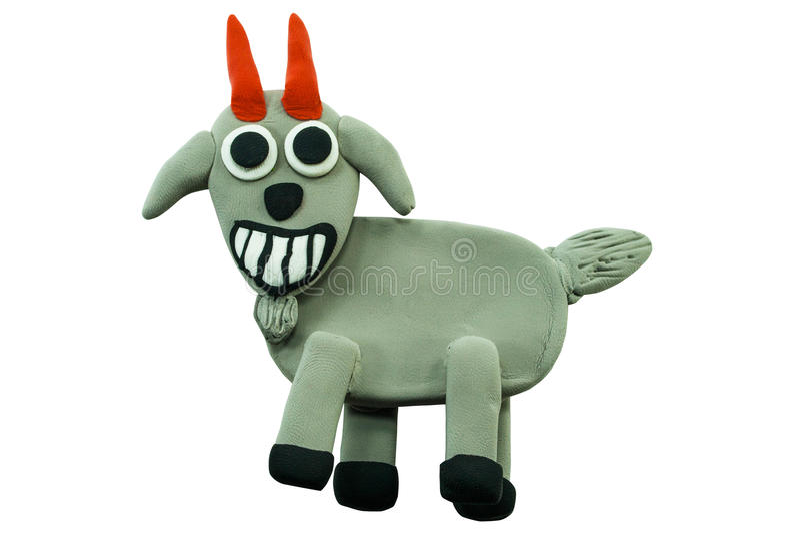 Chèvre de sourire faite à partir de la pâte à modeler sur le blanc illustration de vecteur