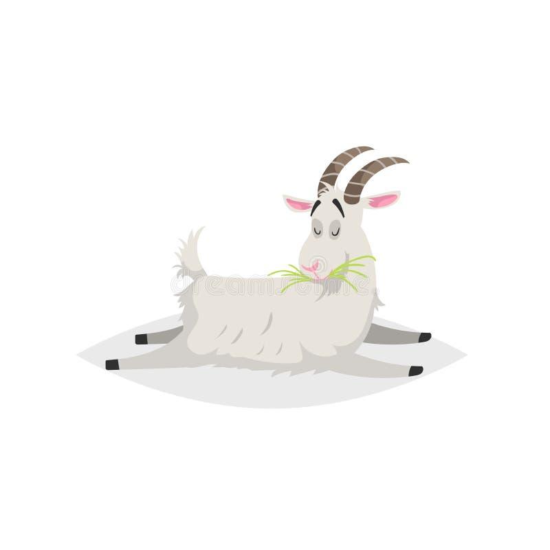 Chèvre drôle mignonne Animal domestique de style de bande dessinée de ferme à la mode plate de conception Mensonges et herbe fraî illustration de vecteur
