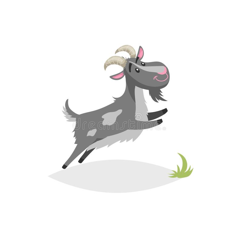 Chèvre drôle mignonne Animal domestique de style de bande dessinée de ferme à la mode plate de conception Sauter breeded gris tac illustration stock