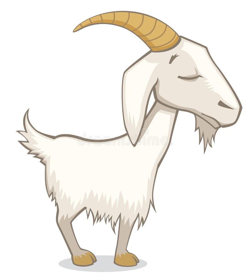 Chèvre drôle mignonne avec l'illustration de vecteur de style de bande dessinée fermée par yeux d'isolement sur le blanc illustration stock