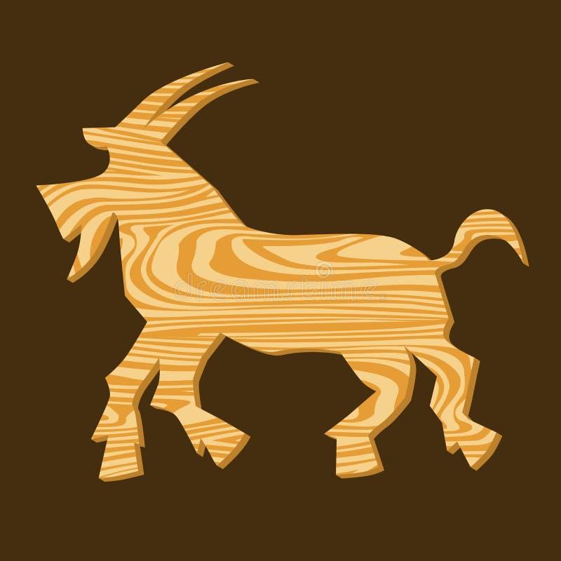 Chèvres en bois, symbole de l'année chinoise illustration stock