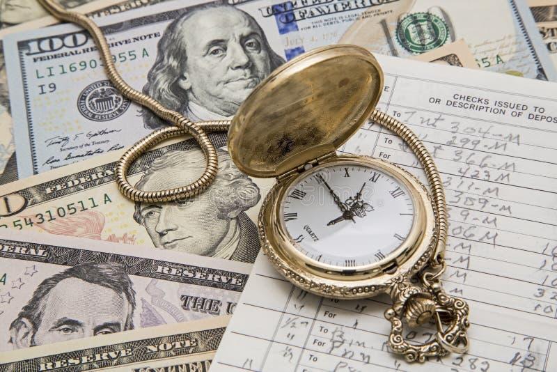 Chéquier de montre de poche de gestion de fortunes de temps images stock