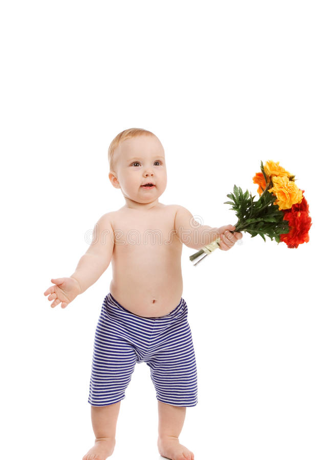 Chéri avec des fleurs photographie stock libre de droits