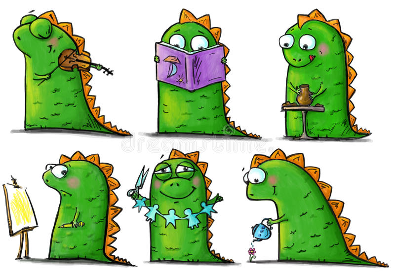 Chéri-dinosaurs drôles aux arts et à la leçon de métiers illustration de vecteur