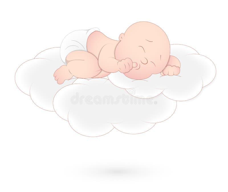 Chéri dormant sur le nuage illustration stock