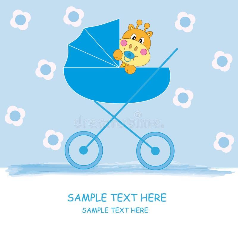 Chéri giraffe-bleue illustration stock