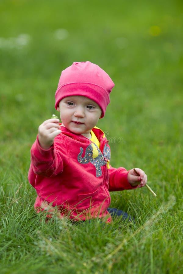 Chéri mignonne s'asseyant sur l'herbe images stock