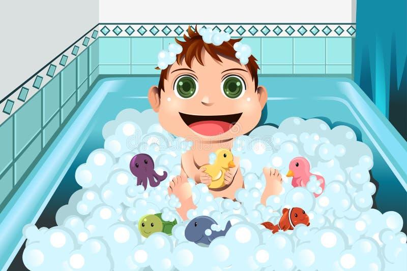 Chéri prenant le bain de bulle illustration libre de droits