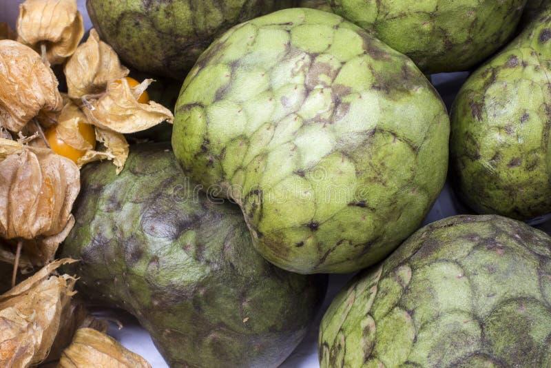 Chérimolier (chirimoya) sur le marché au Pérou photo libre de droits