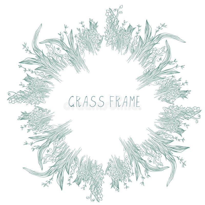 Chíbese el marco con las hierbas y la mano de las hojas dibujada ilustración del vector