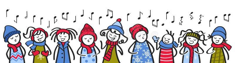 Chór, śpiewacy, dzieci śpiewające, figurki w zimowym ubraniu śpiewające piosenkę, transparenty ilustracji