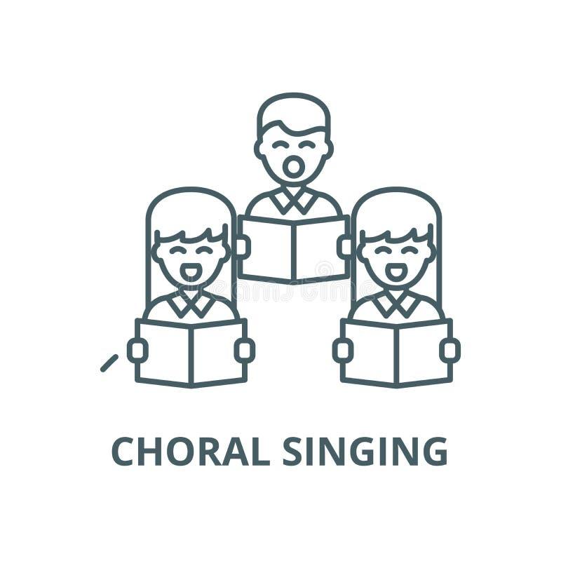 Chóralna śpiew linii ikona, wektor Chóralny śpiewu konturu znak, pojęcie symbol, płaska ilustracja ilustracji
