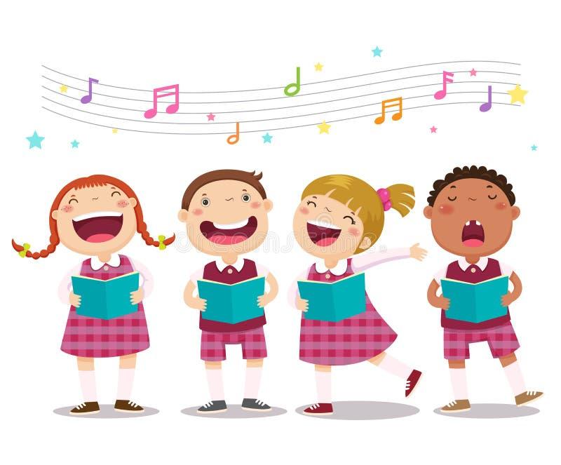 Chórowe dziewczyny i chłopiec śpiewa piosenkę ilustracja wektor