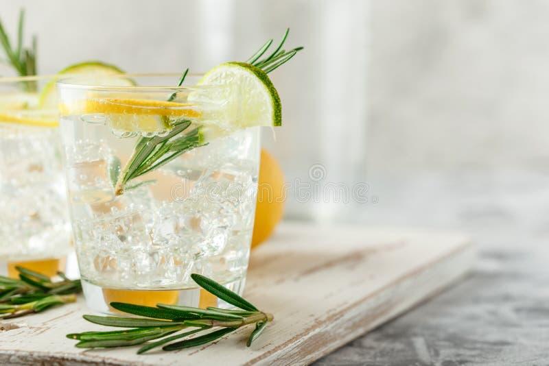 Chłodnicza alkoholiczka lub bezalkoholowy koktajl z cytryną obrazy royalty free