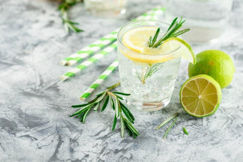 Chłodnicza alkoholiczka lub bezalkoholowy koktajl z cytryną fotografia stock